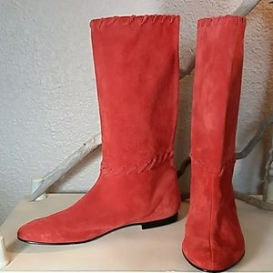 Coral red brushed leather boots